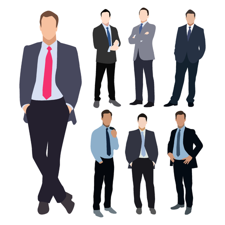 relaxed: Collection of seven man silhouettes, dressed in business style. Formal suit, tie, different poses. Flat style vector image.
