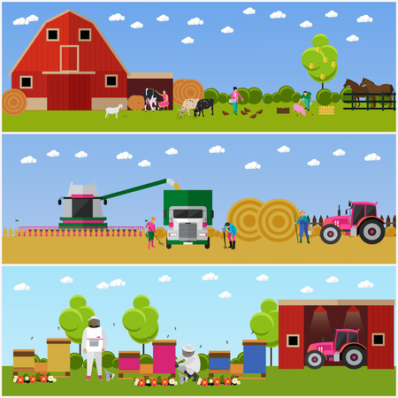 harvesting: Vector banners of village life. Farming and cattle breeding, harvesting wheat and beekeeping. Agriculture, village activities. Flat design