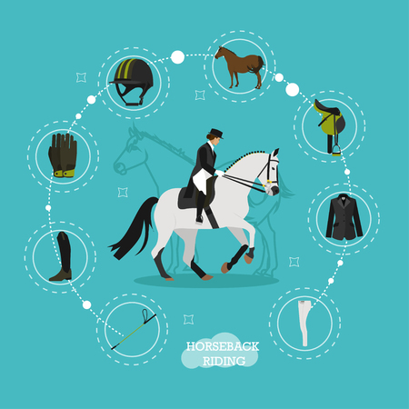 stirrup: Vector concept illustration on horse riding theme with set icons, whip, jockey boots, gloves and helmet, horse, saddle and equipment. Equestrian sport. Flat design.