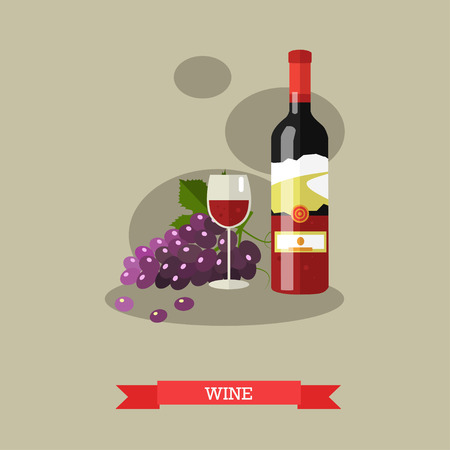 red wine bottle: Vector illustration of red wine bottle and glass full of wine with grapevine. Alcoholic beverage, popular drink. Flat design