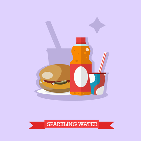 Vector illustration of fizzy drinks. Orange soda in the bottle and sweet soda in paper cup with hamburger near. Popular nonalcoholic beverage. Flat design