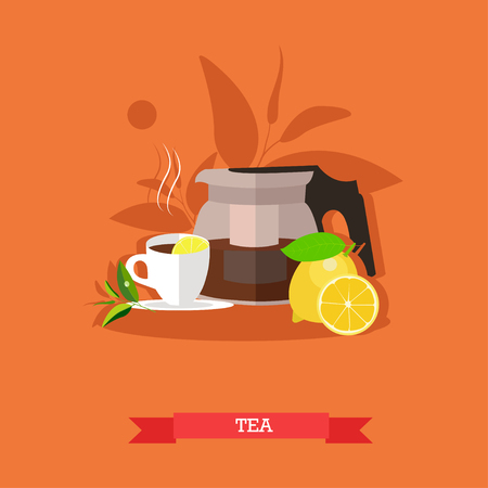 Vector illustration of modern glass teapot with freshly brewed tea, cup of hot, flavour tea and fresh, ripe lemon with slices. Popular drink for morning. Flat design Illustration