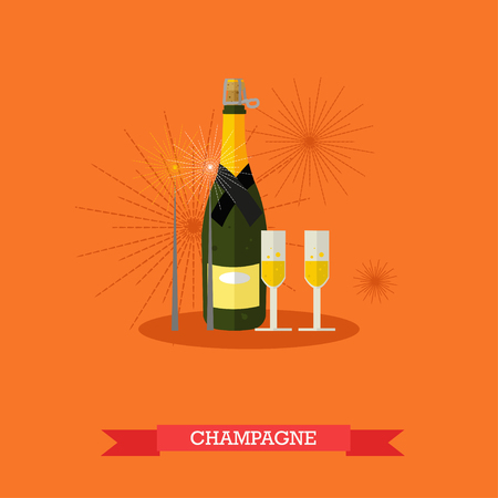 alcoholic beverage: Vector illustration of champagne bottle and two glasses with sparkling drink. Two bengal fires near it. Popular alcoholic beverage for celebration. Flat design Illustration