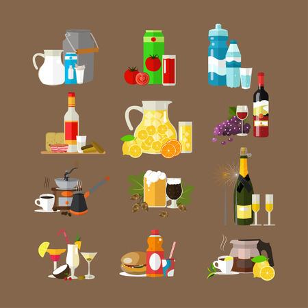 nonalcoholic: Vector set of beverages icons. Milk, tomato juice, mineral water, vodka, lemonade wine coffee beer champagne cocktails soda tea. Popular drinks. Flat design Illustration