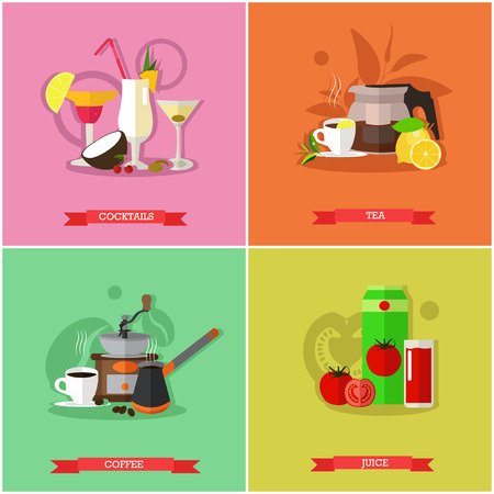 nonalcoholic: Vector set of popular drinks. Strong coffee, hot tea, alcoholic cocktails and tomato juice. Favorite nonalcoholic beverages. Flat design Illustration