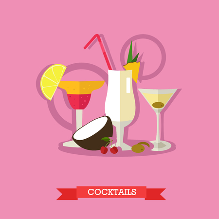 rom: Vector illustration of three glasses alcoholic cocktails with tropical fruits. Popular alcoholic beverages, Margarita, Pina colada and Dry Martini. Flat design Illustration
