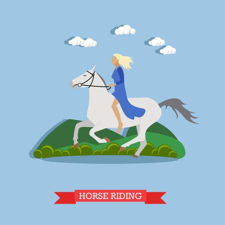 stirrup: Blonde girl in blue dress, holding stirrup, riding a white horse bareback. Vector illustration in flat design. Side view