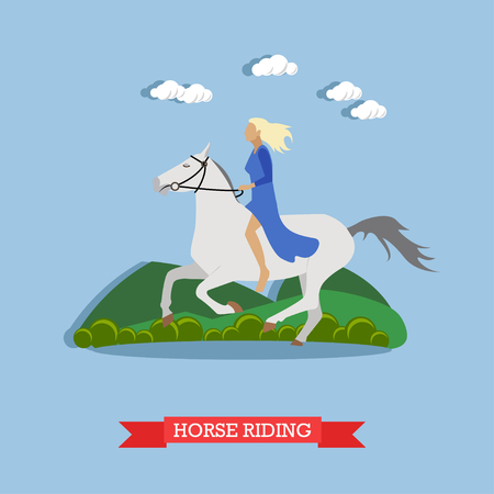 Blonde girl in blue dress, holding stirrup, riding a white horse bareback. Vector illustration in flat design. Side view