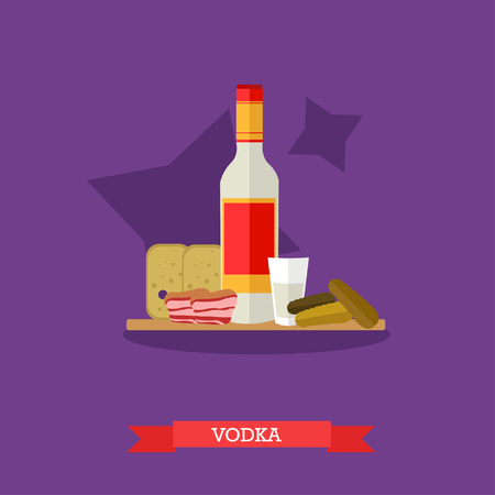 Vector illustration of vodka bottle and shot with appetizer, snack. Bread, pickled cucumbers and lard on cutting board. Popular alcoholic beverage in Russia. Flat design Illustration