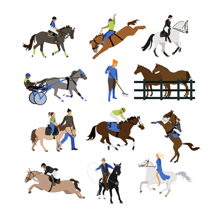 Vector set of horse riders icons. Horseback riding, cowboy with lasso, horse on its hind legs, equestrian sportsman, amateur rider, horsemanship, harness horse riding. Flat design