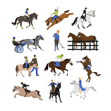 Vector ensemble de cavaliers icônes. Équitation, cow-boy avec lasso, cheval sur ses pattes de derrière, sportif équestre, coureur amateur, équitation, cheval de harnais équitation. Design plat