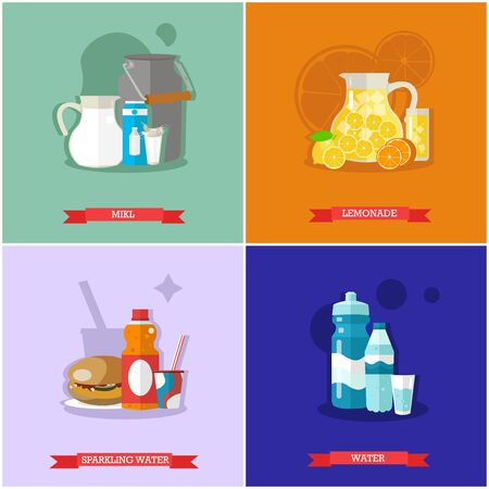 nonalcoholic: Vector set of soft drinks. Fresh milk, juicy lemonade, sweet soda and mineral water. Popular nonalcoholic beverages. Flat design