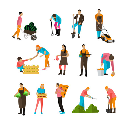 Set of garden people activities with different special equipment. Digging, picking, harvesting, mowing, watering, trimming. Horticulture, agriculture. Vector illustration in flat design Ilustração