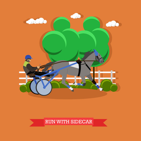 reins: Jockey controls horse in the horse cart, holding the reins, driving whip. Equestrian sport. Vector illustration in flat design