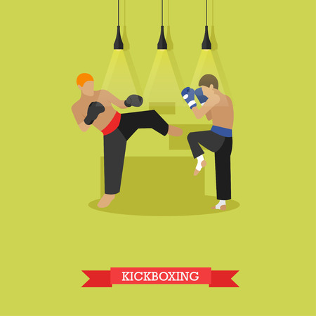 kick out: Two young kickboxer in boxing gloves training and working out kicks. Kickboxer hits a side kick to the opponent feet trying to break his block. Vector illustration in flat design