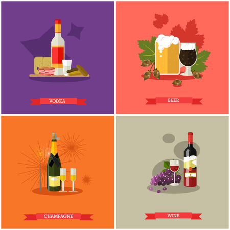 bengal fire: Vector set of alcoholic beverages. Popular strong drinks, vodka, beer, champagne and wine. Flat design Illustration