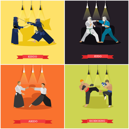 kudo: Vector set of martial arts. Kendo, kudo, aikido and kickboxing. Fighters in sport positions.Flat design.