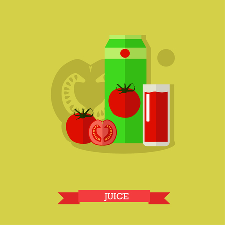 nonalcoholic: Vector illustration of juice carton, glass full of tomato juice and fresh ripe tomato and tomato slices. Popular nonalcoholic beverage with refreshing sour, salty, sweet taste. Flat design Illustration