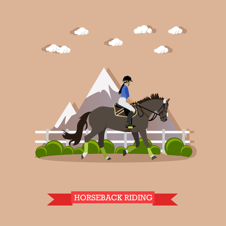 riding boot: Young girl jockey riding horse in the saddle with helmet and hold bridle. Horse dressage, doing exercise and showing skills. Side view, vector illustration in flat design style Illustration