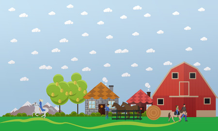 Large horse farm. Horses standing in the paddock, woman riding bareback, hostler teaches kid to ride pony. Vector banner in flat design