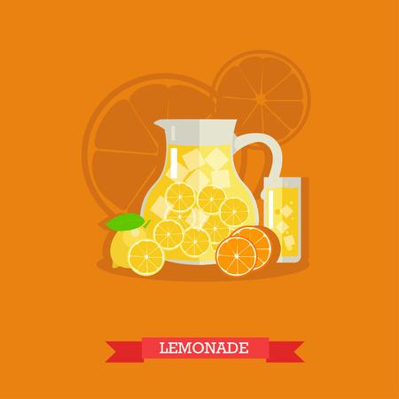 lemon wedge: Vector illustration of jug with lemonade and ice. Glass full of lemonade and fresh lemons and oranges next to it. Popular citrus soft drink. Flat design Illustration