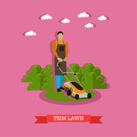 Gardener mowing the lawn with mower. Cutting grass, trimming yard, gardening. Vector illustration in flat design.
