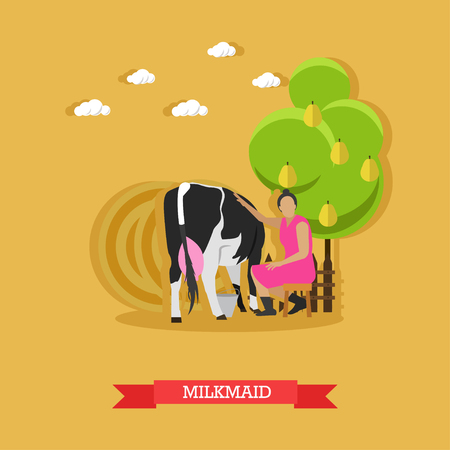 udders: Milkmaid milking a cow, sitting on a stool under a fruit tree, metal bucket near. Cattle breeding, farming. Vector illustration in flat design