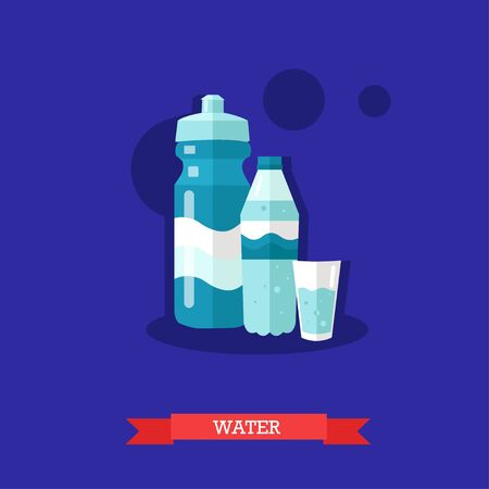 Vector illustration of mineral water bottle with glass full of water and sports bottle. Drinking water is most popular beverage for healthy lifestyle. Flat design