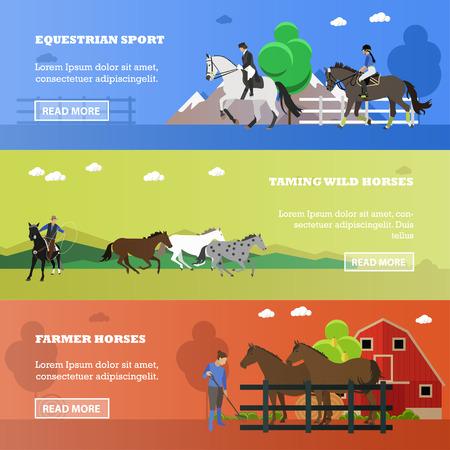 Set of horizontal banners of horses theme. Equestrian sport, taming wild horses, farmer horses. Vector illustration in flat design