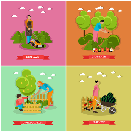 picking: Vector set of gardening agriculture horticulture. Mowing lawn, trimming hedges, picking fruits, gather harvest. Flat design Illustration