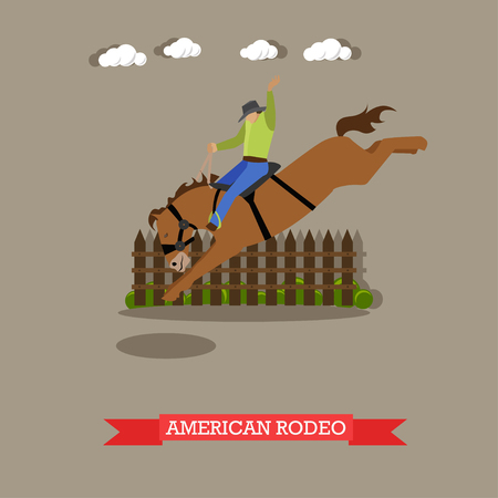 Rider in cowboy hat tries dressage wild horse in American Rodeo arena. Vector illustration in flat design style