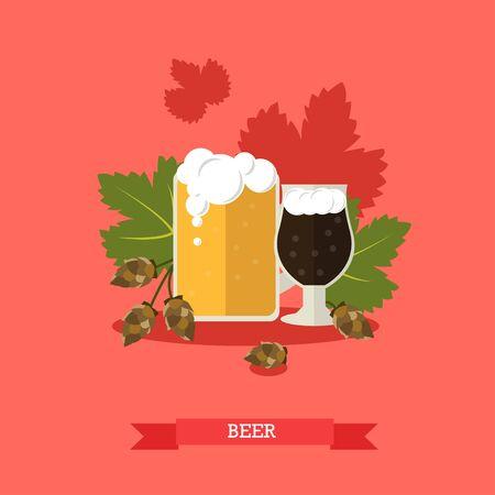 bock: Vector illustration of beer mug and glass with main ingredient, hop cones. Light and dark beer with foam. Alcoholic beverage, popular drink. Flat design