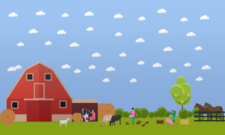 Farming men and women working on farmyard - feeding chickens and pigs, milking cow. Domestic animals and farming concept vector illustration in flat style