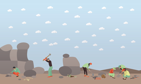 Excavation concept vector illustration in flat style. Archaeologists, remains of settlements, archaeological tools.
