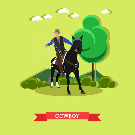 Cowboy on the horse throwing lasso. Wild West character. Taming horses concept vector illustration in flat style.