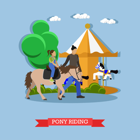 gee: Little girl riding pony with instructor in amusement park near children carousel with horses. Vector illustration in flat style