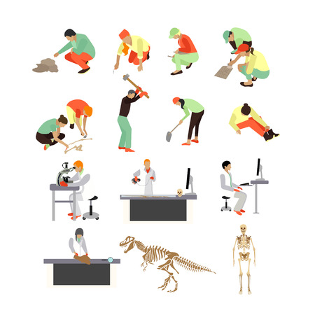 Vector set of archaeologists, researchers at work, tools and equipment, isolated on white background. Archaeological research concept design elements, icons in flat style. Illustration