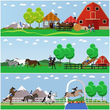 乗馬、乗馬、馬の調教、農業概念バナー、ポスター、フラット スタイルのベクトルのセットです。