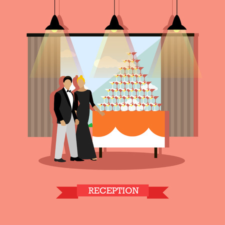 visitors: Reception in restaurant concept vector illustration in flat style. Restaurant interior and visitors man and woman near table with drink