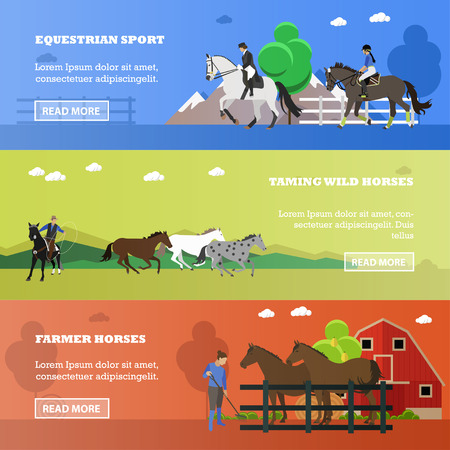 taming: Vector set of equestrian sport, taming wild horses, farming concept banners. Women riding horses, cowboy throwing lasso, working farmer near stable and horses, place for text. Flat style.