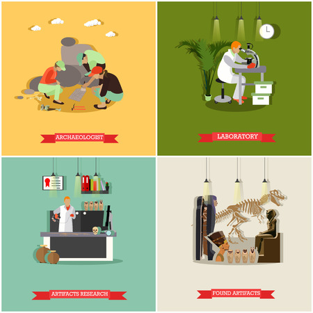 antiquities: Vector set of posters, banners with archaeologists at work, tools and equipment. Archaeological laboratory, artifact research, excavation, found artifacts concept design elements in flat style.