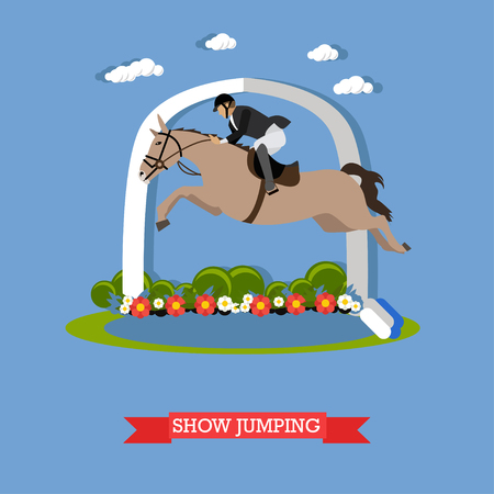 steeplechase: Gray race horse and man jockey in uniform jumping over barrier. Show jumping vector illustration in flat style.