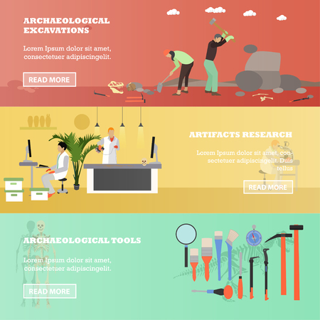 excavation: Vector set of banners with archaeologists, scientists, tools and equipment. Archaeological excavation, artifacts research concept design elements in flat style.