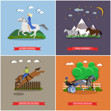 taming: Young woman riding horse. Three wild horses galloping. Trotter running with sidecar and horseman. American rodeo. Wild and domesticated horses concept vector illustration in flat style