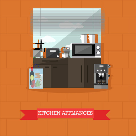 Vector illustration of kitchen interior with kitchen appliances in flat style. Microwave, toaster, mixer, blender, coffee maker, kettle, furniture.