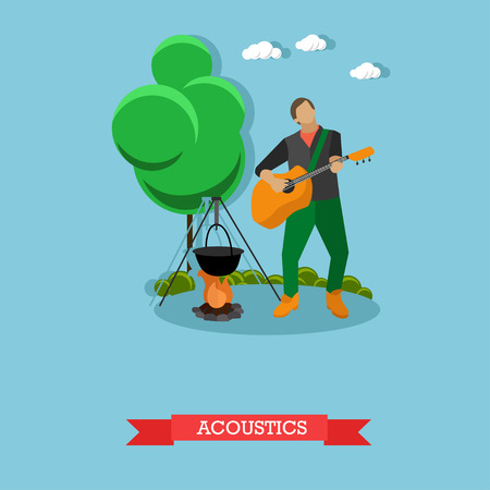 acoustics: Young man singing and playing acoustic guitar near campfire. Camping and acoustics concept template. Vector Illustration in flat design. Illustration