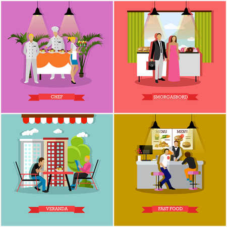 veranda: Vector set of banners with restaurant and cafe interiors in flat style. Smorgasbord, fast food, restaurant and veranda design elements.