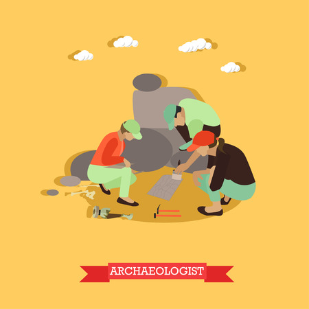paleontological: Excavation concept vector illustration in flat style. Archaeologists in Egypt, remains of settlements, archaeological tools.