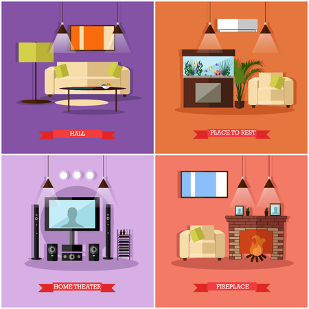 home theatre: Vector set of posters, banners with home interior design elements in flat style. Place to rest, hall, home theatre and fireplace. Illustration