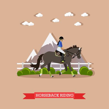 灰色の競走馬と女性は制服を着た騎手します。乗馬フラット スタイルの概念ベクトル図です。  イラスト・ベクター素材